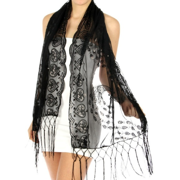 Accessories - Black Sequin Heart Evening Wrap Shawl Prom Wedding